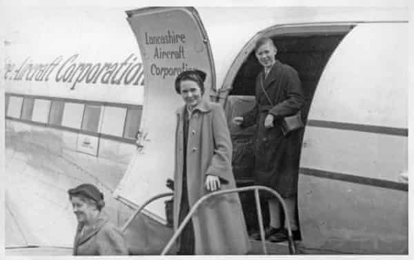Alice returning from holiday to Blackpool airport  on a Lancashire  Aircraft Corporation flight  in the 1950s