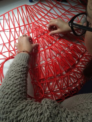 Danit Peleg working on her 3D printed fashion