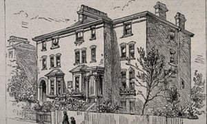 A wood engraving of a four storey, largely square brick-build convalescent home. A woman and a boy walk past on the pavement outside.