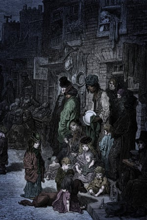 A dark picture; dilapidated tenement buildings in the background, a crowded foreground with around 20 figures; several children sit or stand with a large dog on the pavement; a woman holds a bundled baby, two men in oversized coats and hats look on; a dark-skinned man, possibly in a kind of turban, polishes a silver plate. in the background figures gather around some sort of stall.