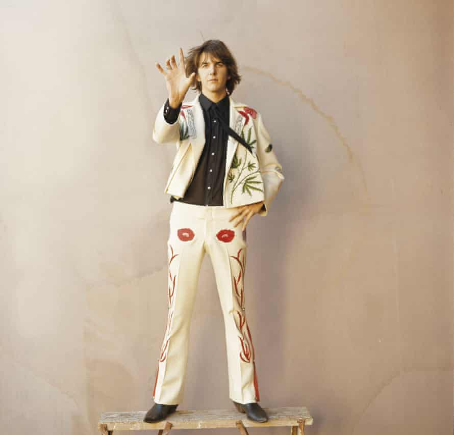 Gram Parsons … Wearing the marijuana leaf suit he had custom-made by Nudie's Rodeo Suits while in the Flying Burrito Brothers.