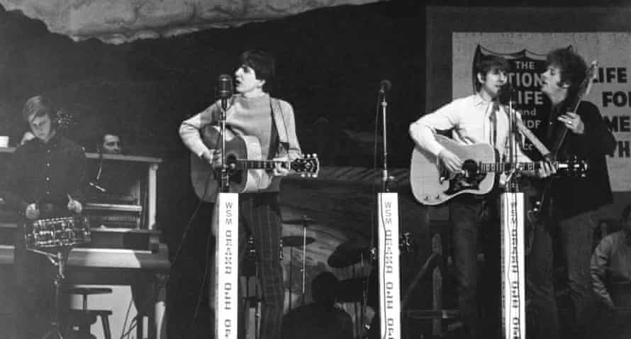 Opry Boys … Parsons (second left) with the Byrds, appearing at the Grand Ole Opry in 1968.