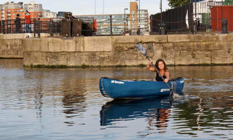 Smillie fits in a kayak paddle before heading to work in the mornings.