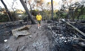 Fire damage at a campsite in Bagnols-en-Foret, Var department, southern France.