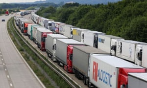 Lorries parked on the M20 in Ashford, Kent, during Operation Stack earlier this month.