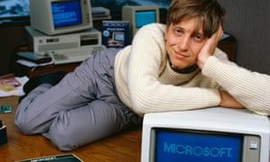 We've come so far: 30 years ago, in Bellevue, Washington, USA, Bill Gates, then-CEO of Microsoft, reclines on his desk soon after the release of Windows 1.0.