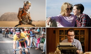 From clockwise, Matt Damon in The Martian, Julianne Moore and Ellen Page in Freeheld, Ben Foster in The Program and Bryan Cranston in Trumbo - all premiering at this year's Toronto film festival.