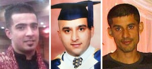 Haroon Jahan, Shazad Ali and Abdul Musavir who died they were mowed down by a car while protecting their community from looters in Birmingham.