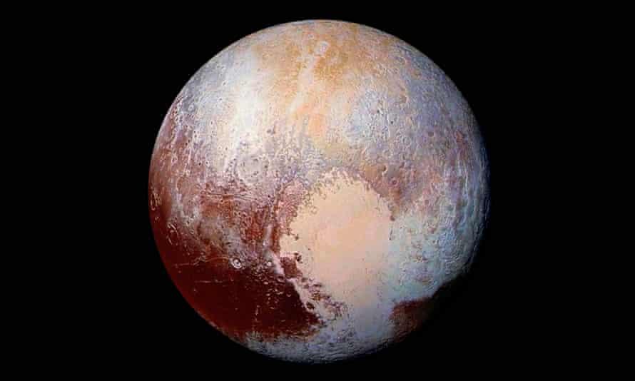 Pluto in enhanced colour.