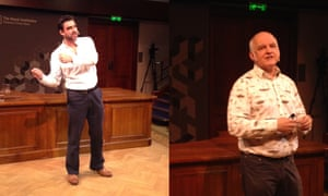 Nick Lane (left) and Matthew Cobb (right) at the Royal Institution