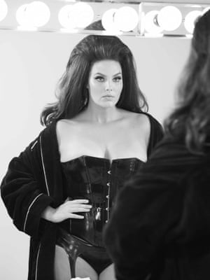 Candice Huffine, styled by Carine Roitfeld,  backstage at the 2015 Pirelli calender shoot, by Steven Meisel