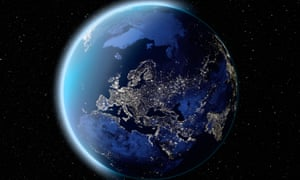 Satellite image of planet earth Europe at night