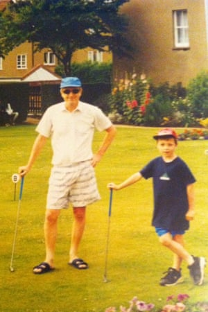 Ben Norris on the putting green with his father, Ray.