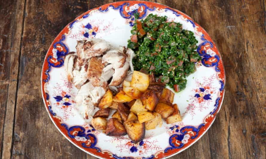 The chicken platter with chicken, potatoes and tabbouleh