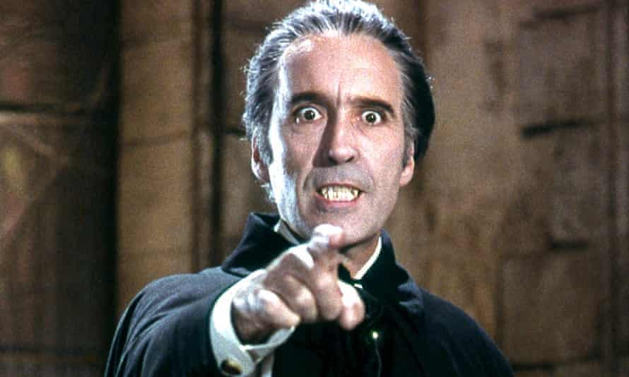 Christopher Lee as the count in Dracula, 1972