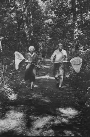 Vladimir Nabokov and his wife Vera chasing butterflies, September 1958.