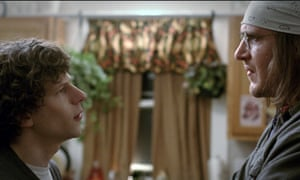 "Jesse Eisenberg, left, as David Lipsky, and Jason Segel, as David Foster Wallace, in a scene from the film, ""The End of the Tour."" (A24 via AP)"