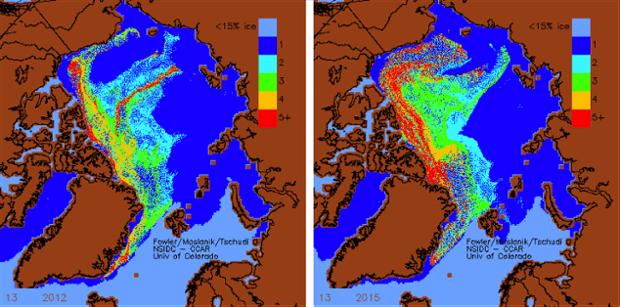 Arctic sea ice in 2012 vs 2015.