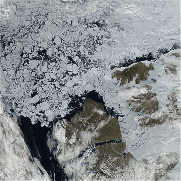 LANCE-MODIS satellite image from July 19th showing multi-year ice floes interspersed with large areas of open water and rapid break-up of fast ice in the Northwest Passage