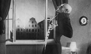 Max Schreck as the vampire Count Orlok, being destroyed by sunlight in the movie. Sorry for the spoiler.