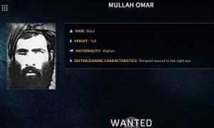 An FBI wanted notice for Mullah Omar.