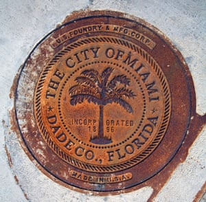 <strong>Miami, Florida<br></strong>A rusty sewer lid forged by the US Foundry