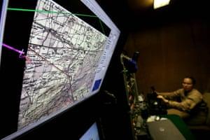 Control room for a Predator drone