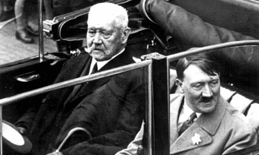 German president Paul von Hindenburg with Adolf Hitler in Berlin, May 1933.