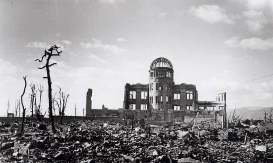 The Hiroshima Prefectural Industrial Promotion Hall, which stood very close to the bomb's hypocentre. The skeletal structure of the dome is now known officially as the A-bomb Dome.