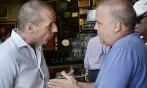 Yanis Varoufakis talks to a Greek citizen who disagrees with the country's economic policy.