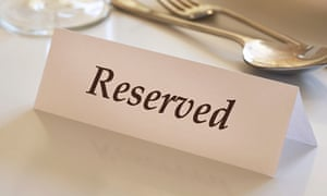 Table reservation sign