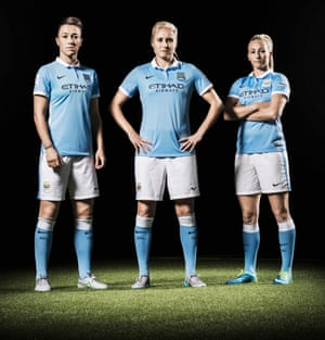 England Manchester City players Lucy Bronze, Steph Houghton and Toni Duggan