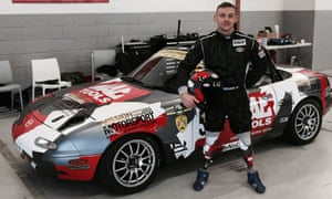 Man on a mission: Davie Birrell with his Mazda racing car.