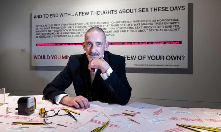 Neil Bartlett with his installation at the Wellcome Collection's Institute of Sexology.