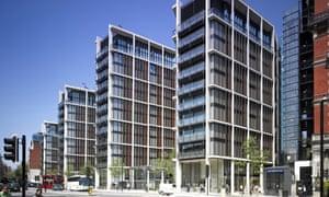 Luxury apartment blocks in Knightsbridge, London.