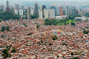 Favela Morumbi, one of Sao Paulo's biggest slums. With a population of 20 million, the city is the largest in South America.