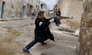 A Syrian rebel in Aleppo, in 2013.