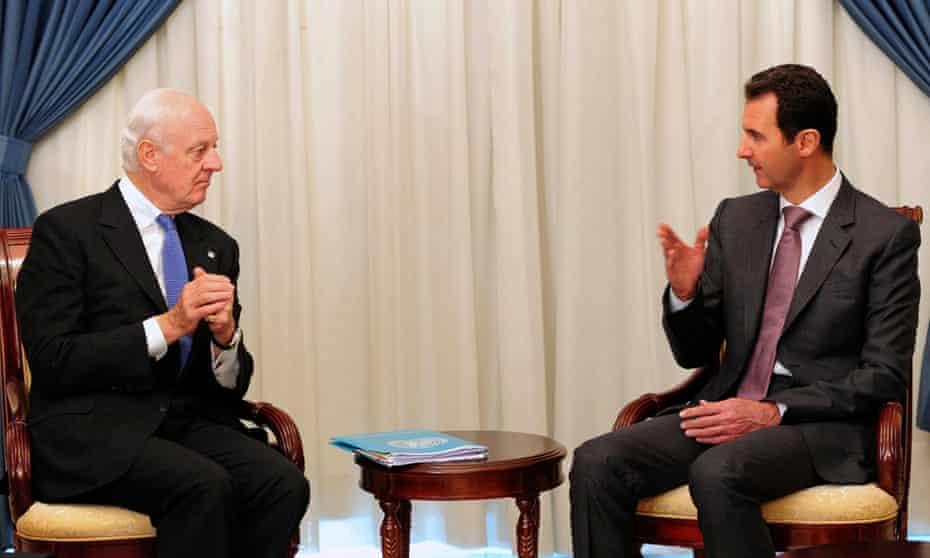UN special envoy Steffan di Mistura meets President Assad in Damascus in November 2014.