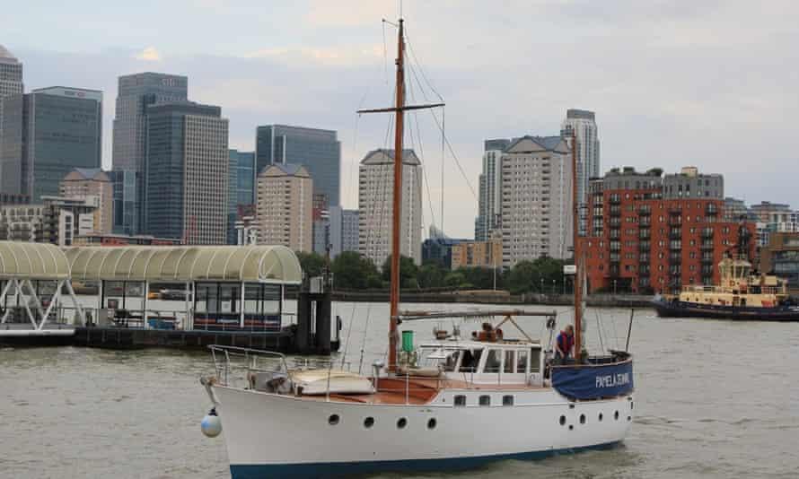 Susan Smilie on her boat on the Thames.