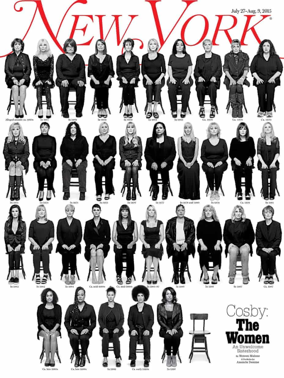 'New York Magazine shows photographs of 35 of the 46 women whose sexual assault allegations against Bill Cosby span five decades'.