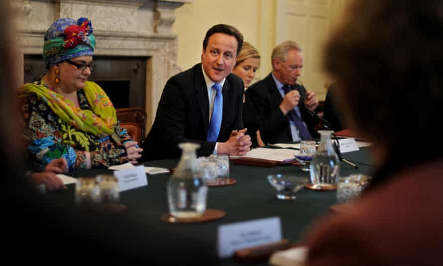 Founder of Kids Company, Camila Batmanghelidjh (left) attends a 'big society' meeting chaired by prime minister David Cameron in 2010.