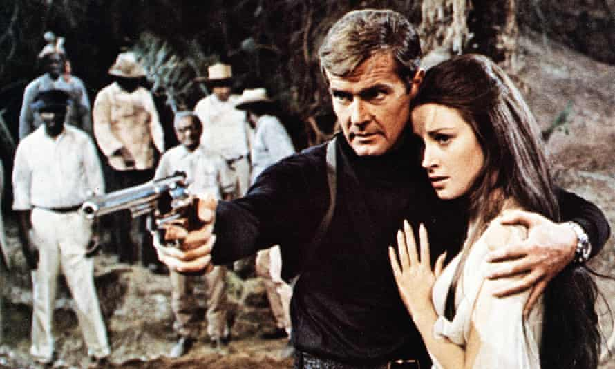 Roger Moore with Jane Seymour in his first Bond film Live and Let Die in 1973.