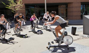 An exercise class at Google corporate headquarters.