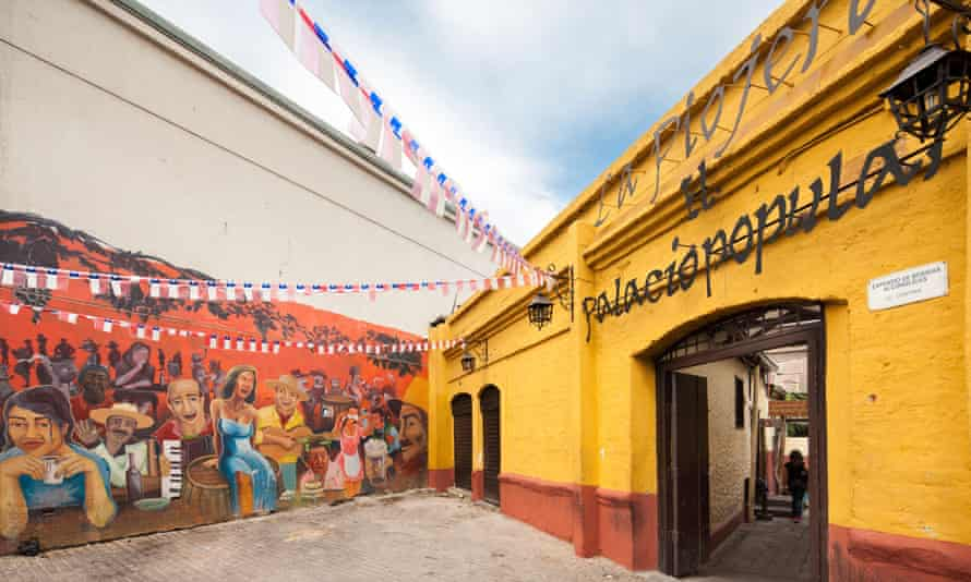 CTJ4N9 Entrance of La Piojera, famous bar restaurant in Santiago Chile,