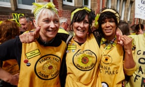 Three of the Nanas – including Anjie Mosher (left) and Rebecca Fitton (middle) – celebrate in Preston after Lancashire county council rejected Cuadrilla's application to frack for shale gas at Little Plumpton and Roseacre Wood.