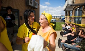 One of the Nanas, Tina Louise Rothery (yellow headscarf), at a blockade of the Blackpool office of Cuadrilla, the company planning to extract shale gas on the nearby Fylde in Lancashire, in August 2014.