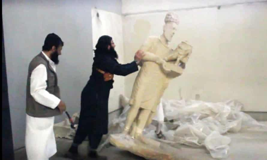 Footage of Isis destroying ancient statues in Nineveh in Iraq.