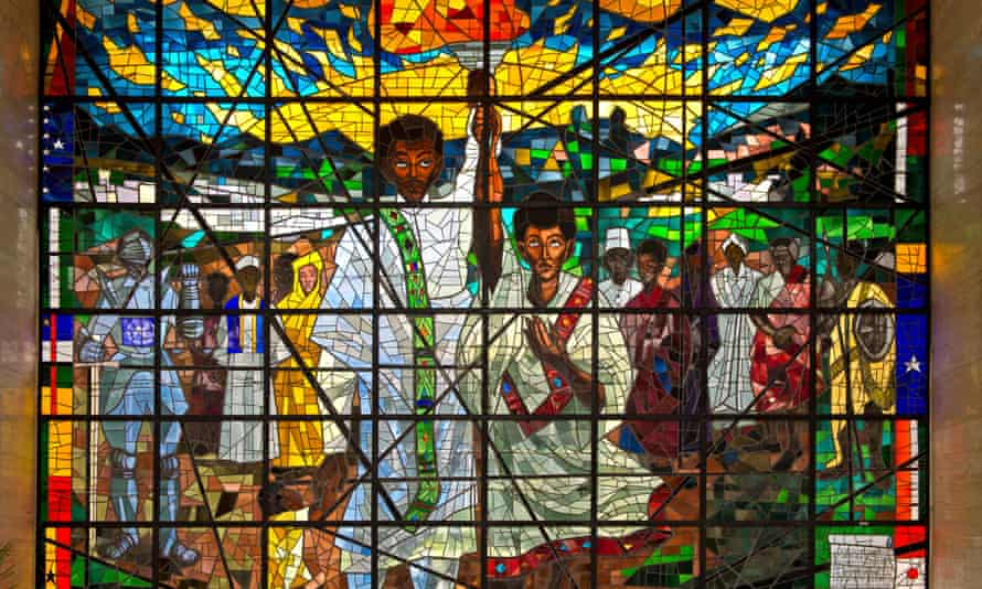 Middle part of the stained glass triptych Total Liberation of Africa by Afewerk Tekle, Africa Hall, UNECA, Addis Ababa, Ethiopia
