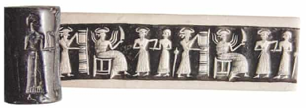 A hematite cylinder seal from Syria, of the kind that sometimes turn up for sale in Europe.