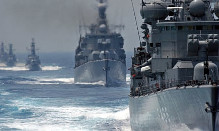 Greek frigates and torpedo boats during a military exercise in 2005.